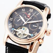 NEW Luxury DAY DATE CALENDAR Automatic mechanical Leather band Men's Wrist Watch