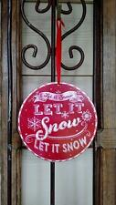 """NWT RAZ 6"""" Red White Candy Stripe Wood CHRISTMAS Disk Ornament LET IT SNOW"""