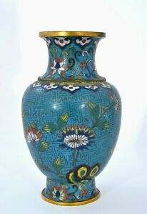 19th Century Chinese Gilt Cloisonne Enamel Vase with Flowers