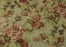 "SCHUMACHER ASHBORNE PEONY LINEN #D4034 Large Floral Bird Fabric BY YARD 54""W"