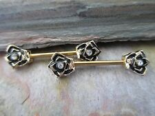 Full Set Gold IP CZ Roses Barbell Nipple Shields Piercings