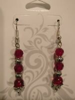 Beautiful intricate handmade dangle earrings red with delicate silver accents