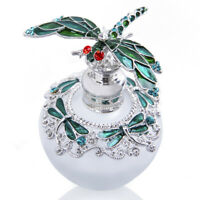 H&D Vintage Frosted Glass Perfume Bottle Green Dragonfly Refillable Gifts 40ml