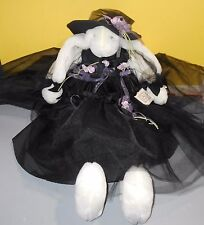"1999 Bunnies by the Bay 26"" Plush Minerva Monarch Bunny Rabbit Black Dress & Hat"