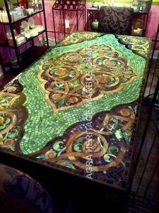 6'x3' Marvelous Marble Dining Contemporary Table Top Mosaic Inlay Design H4807A