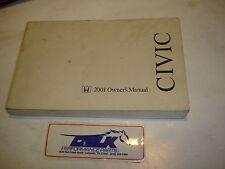 01 2001 HONDA CIVIC SEDAN OWNERS MANUAL OWNER / USER MANUAL BOOKLET OEM USED