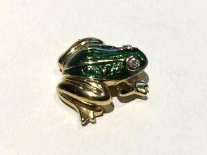 Vintage AVON  frog Tie Tack Hat Pin Lapel Pin Enamel Rhinestones Gold Tone NICE