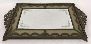 Vintage Filigree Brass Bronze Floral Etched Mirror Perfume Vanity Dresser Tray