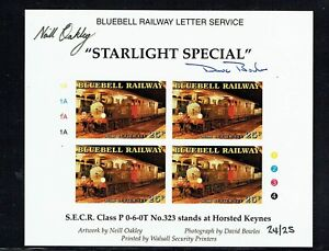 Bluebell Railway 2001 'Starlight Special' stamp in sheet Imperf & Signed