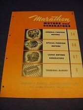 Motors & Generators Catalog Vintage 1950's Marathon Electric Mfg. Corp. Asbestos