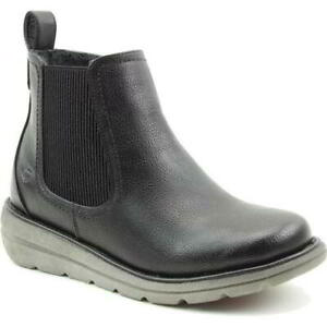 Heavenly Feet Rolo 4 Womens Ladies Black Pull On Chelsea Ankle Boots Size 4-8