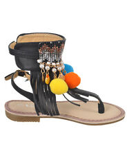 Girls Kids Multi Color Roman Caged Gladiator Sandals Flats Strapy Shoes Sz 11-4