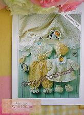 Vintage Knitting Pattern Premature Baby's Shawl Trousers Cardigan & Pram Set