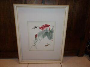 Japanese Wood block print morning glory grass hopper,and butterfly framed