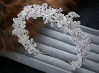 Flowers Beaded Wedding Hairband Pearls Headband Crystal Bridal Dress Accessories