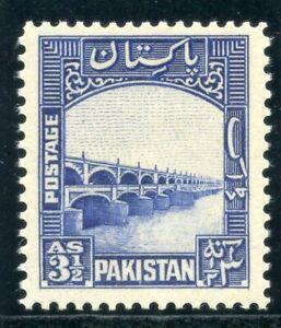 Pakistan 1948 KGVI 3½a bright blue superb MNH. SG 32. Sc 32.