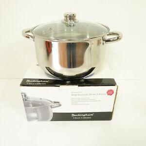24cm Buckingham 6.0 Litre Casserole Saucepan Stainless Glass Lid Induction D27