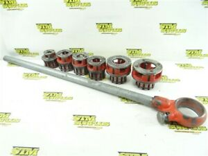 """RIDGID 111-R RATCHETING PIPE THREADING WRENCH + 6 DIE HEADS 1/8"""" TO 1-1/4"""""""