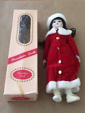 Porcelain Doll Red Velvet Christmas Dress and Hat 17� original Box Vintage