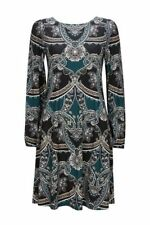 Wallis Teal Paisley Print Shift Dress Size UK 14 Dh182 FF 08