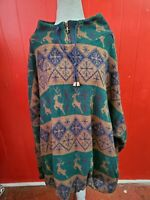 Venzia Women's Size 26-28 Vintage Deer/Snow Flake Wool Blend Sweater