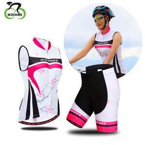 Women Cycling Vest Ladies Sleeveless Jersey Skort Gel Pad Shorts Set For Bike