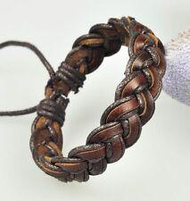 Cool Retro Hemp Leather Braided Mens Surfer Bracelet Wristband Cuff Dark Brown