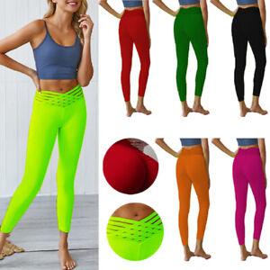 Damen Sport Yoga Leggins Jogginghose Traininghose Fitness Lang Unifarben Hose
