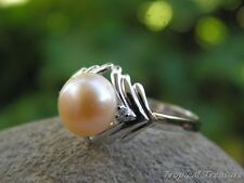 Peach Pink Pearl Solitaire, (Size 7 1/2, O 1/2) CZ's & 925 SOLID Silver RING