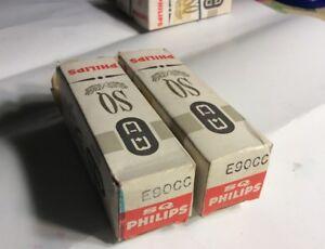 (2)  E90CC PHILIPS MINIWATT SQ Akin to E80CC and 6211 Duo Triode Long Box Plate
