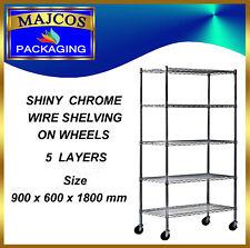 5 Tier Heavy Duty Chrome Wire Shelving on Wheels size 900 x 600 x 1800 mm
