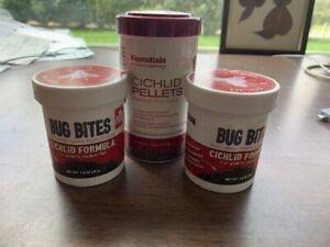 Lot 3   Cichlids Pellets: Fluval Bug Bites Granules Essentials Premium Fish Food