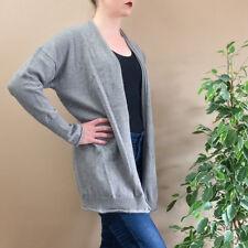Vintage 90's Grunge 100% Merino Wool Grey Open Cardigan Coat Medium UK 12 14