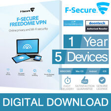 F-Secure Freedome VPN 2018 (1Year/5PCs) Internet Security Genuine Certificate