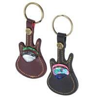 Guitar Pick Holder Keychain Design Plectrum Bag Pick Case + 5 Picks Free