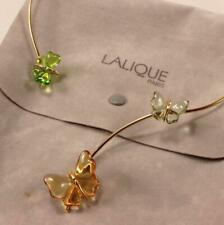 LALIQUE PAPILLON 3 BUTTERFLY CRYSTAL GOLD PLATED CHOKER NECKLACE PENDANT