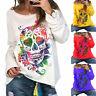 Women Halloween Skull Skeleton Long Sleeve T-shirt Sweatshirt Pullover Tee Top
