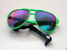 Sports sunglasses, blue stoppers, U.V. protection, all weather lens green frame