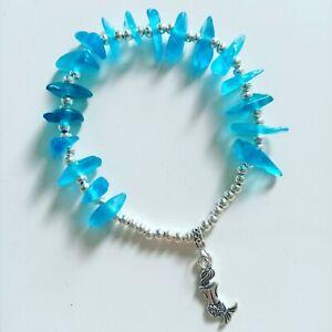 Seaglass Bracelet Handmade. Blue sea glass