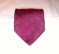 Faconnable Mens Necktie Tie Red Black Dark Blue Geometric 100% Silk Italy EUC