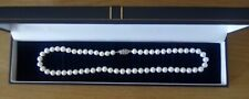"""Vintage Real 16"""" Freshwater Cultured Pearl Necklace Sterling Silver Clasp Boxed"""