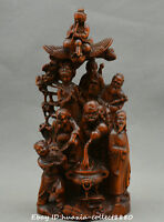 Collect Chinese boxwood wood hand carve eight immortals crossing the sea Statue