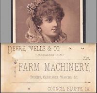 John Deere, Wells & Co Council Bluffs Iowa Farm Machinery Advertising Trade Card