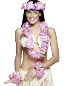 Hawaiian Set with Garland, Headband and Wristband Luau Adult Costume Accessory