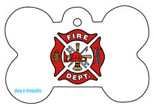 Fire Department Dog Pet Cat ID Tag Bone Shape Engraved Personalized Key Ring