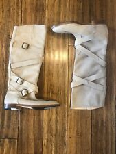 Manolo Blahnik Ladies Beige Leather Strappy Knee High Boots Size 41 (Euro Size)