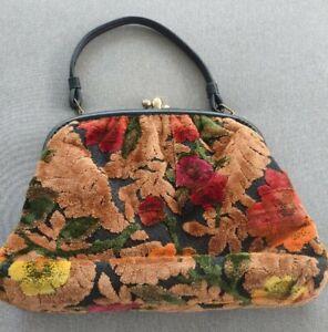 vintage 1950's  carpet bag floral tapestry purse handbag