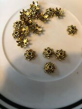 20 10mm Gold Fancy Star Bead Cap Bali Style Pewter Beads SALE #19