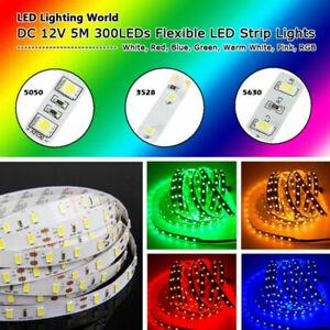 Bright 12V 5M 16.4ft 3528 5050 5630 RGB SMD 300 LEDs Flexible Strip light Lamp