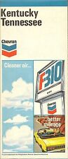 1971 CHEVRON OIL Road Map KENTUCKY TENNESSEE Louisville Chattanooga Lexington